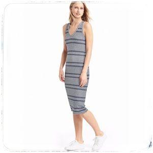 Gap Stripe grey white midi tank ribbed knit dress